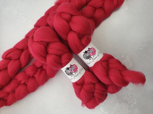 Merino roving, wool top, 100 g, CRIMSON