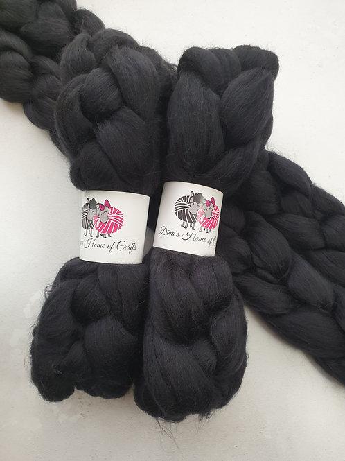 Merino roving, wool top, 100 g, CHARCOAL