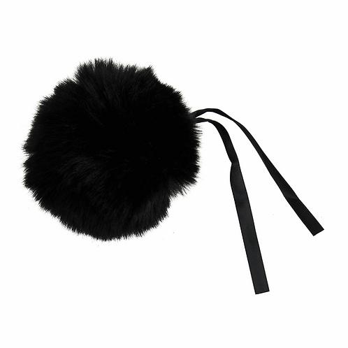 Faux Fur POM POMS, 11cm, BLACK