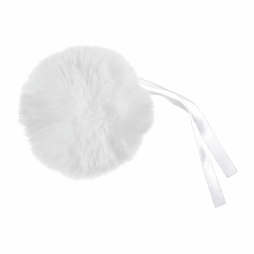 Faux Fur POM POMS, 11cm, WHITE