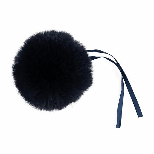 Faux Fur POM POMS, 11cm, DARK NAVY