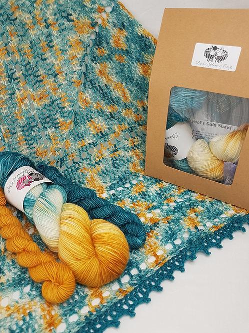 FOOL'S GOLD SHAWL, crochet kit, pattern and yarn kit
