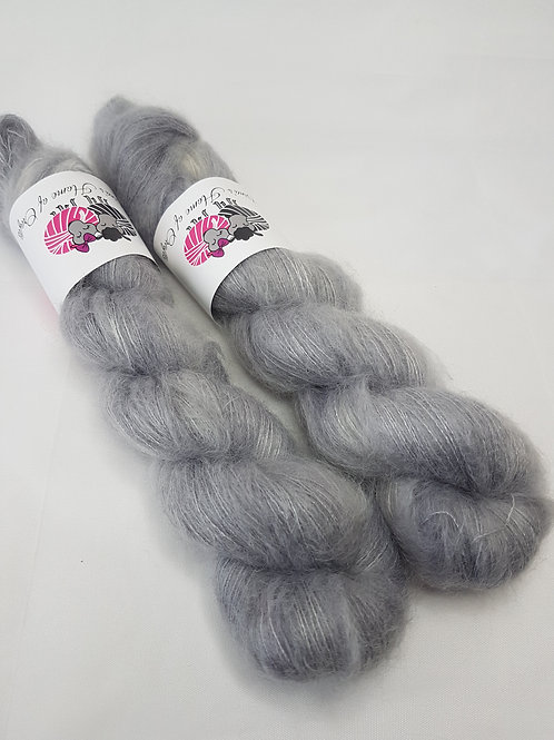 Kid Mohair Silk yarn, Lace weight, 50g, SILVER CLOUD