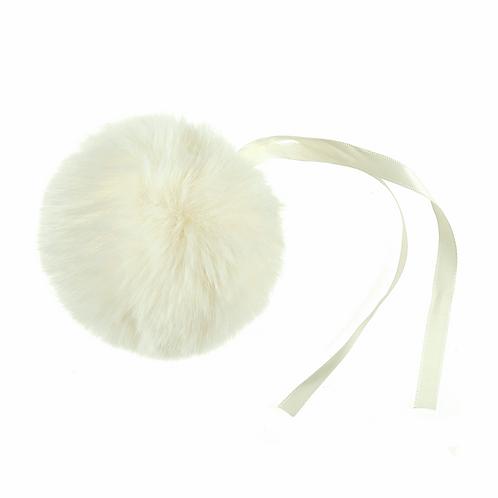 Faux Fur POM POMS, 11cm, CREAM