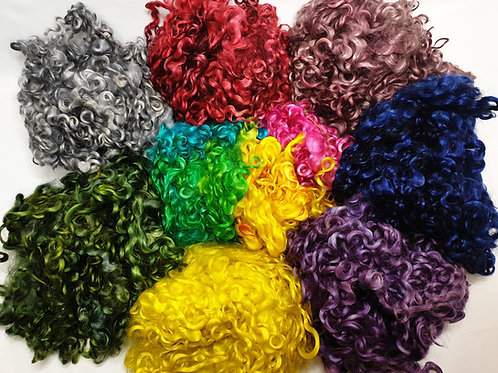 Dyed Teeswater locks, assorted colours