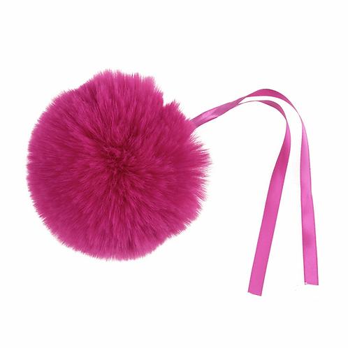 Faux Fur POM POMS, 11cm,BRIGHT PINK