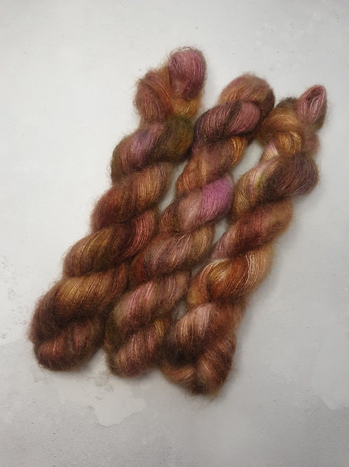 Kid Mohair Silk yarn, Lace weight, 50 g, MARMALADE