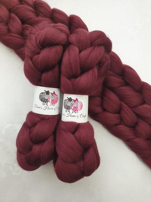 Merino roving, wool top, 100 g, BURGUNDY