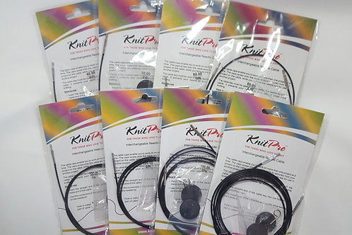 Knitpro Replacement Cable Black, includes end caps & key, sizes 40 - 200cm