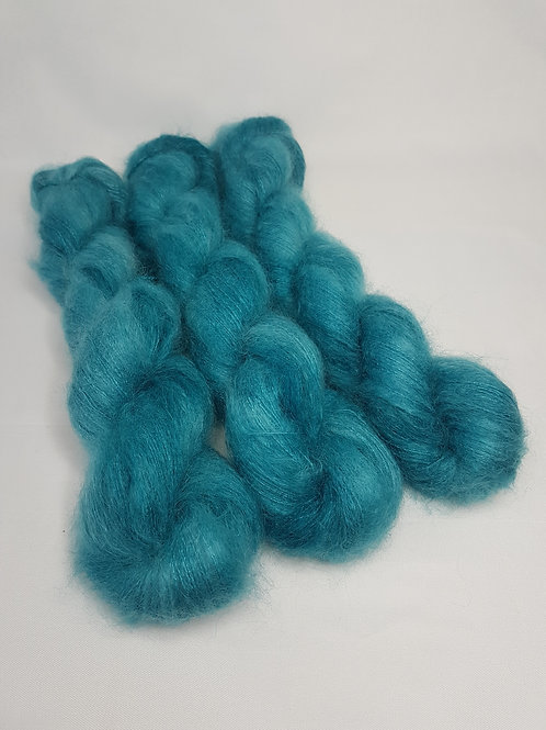 Kid Mohair Silk yarn, Lace weight, 50 g, TEAL