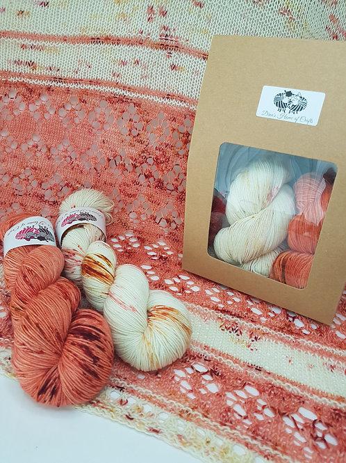 ROMANCE IN THE BRUM SHAWL, knitting kit, pattern and yarn kit