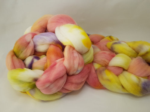 Merino roving, wool top, 100 g, PEACHY BLOOM