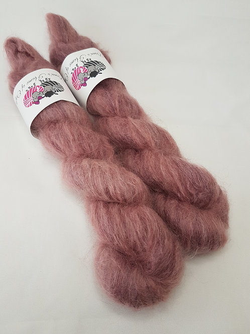 Kid Mohair Silk yarn, Lace weight, 50g, BROWN ROSE