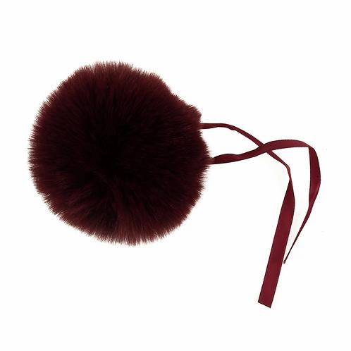 Faux Fur POM POMS, 11cm, BURGUNDY