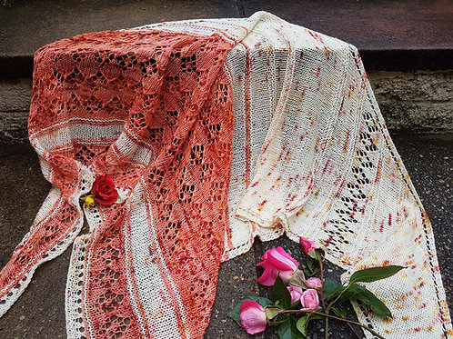 ROMANCE IN THE BRUM SHAWL, Knitting pattern, hard copy