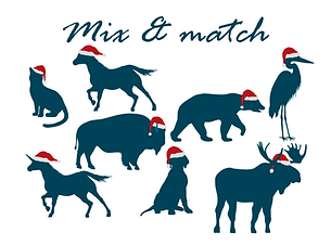 Christmas animals mix and match for webs
