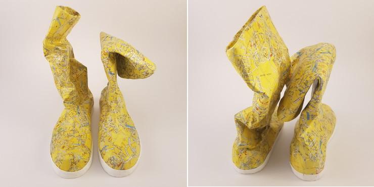 Laurence Lehel art bottes de pluie sculpture papier
