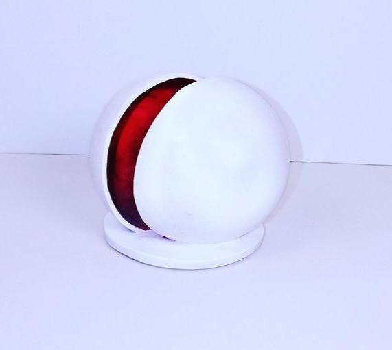 Œuvre Luce Gaudin atome rouge et blanc art