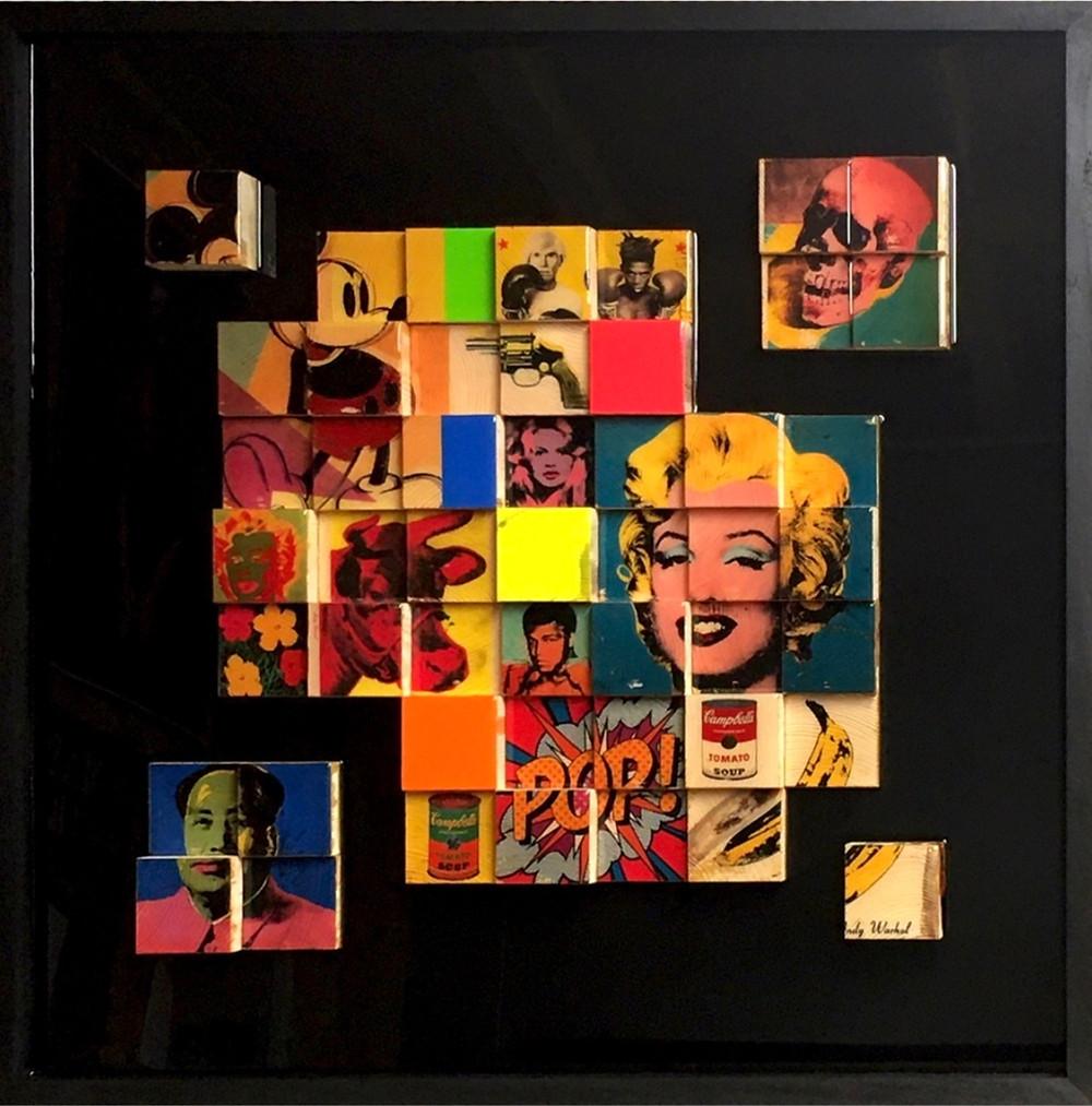 œuvre d'art en bois. Cubes en hommage à Andy Warhol. Cathie Berthon