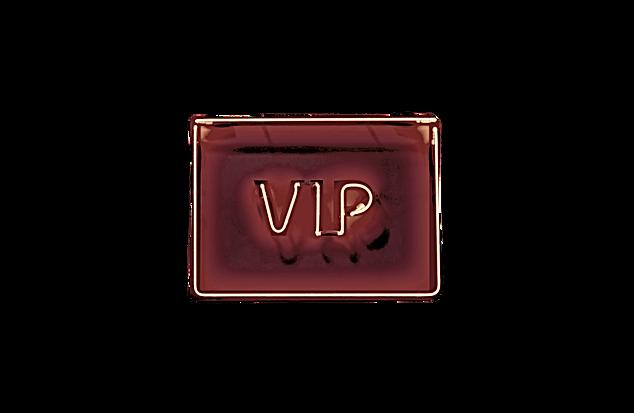 Luminous red neon sign of VIP on a dark