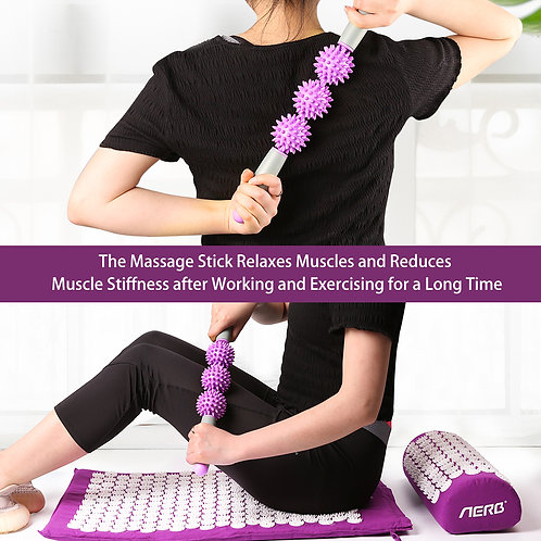 Aerb Acupressure Mat, Acupressure Set with Pillow and 3 Balls Massage Stick, to