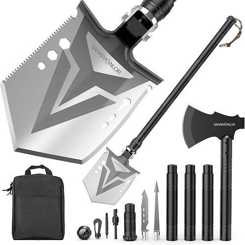Sahara Sailor Survival Shovel with Axe, High Carbon Steel Tactical Shovel Campin