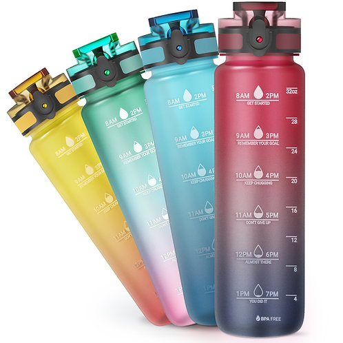 Sahara Sailor Water Bottle, 32oz Motivational Fitness Sports Water Bottle with T