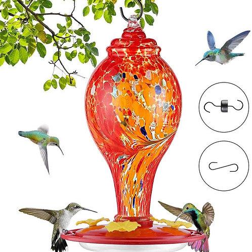 Hummingbird Feeders for Outdoors, Hand Blown Glass Hummingbird Feeder, Bird Feed