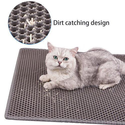 Aerb Cat Litter Mat 27.6''x19.7'' Double-Layer Honeycomb Design Litter Box Mat,