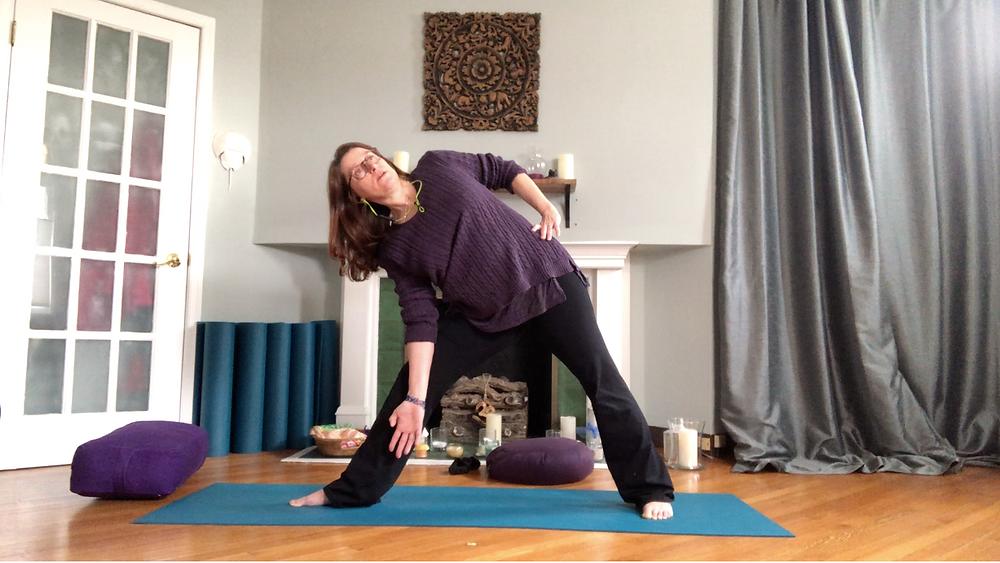 Jane doing yoga