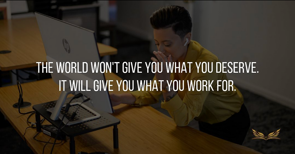 Picture of Kimberly Lopez with quote the world won't give you what you deserve, it will give you what you work for.