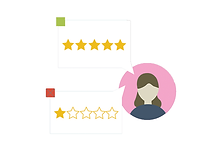 woman with one star and five star review bubbles