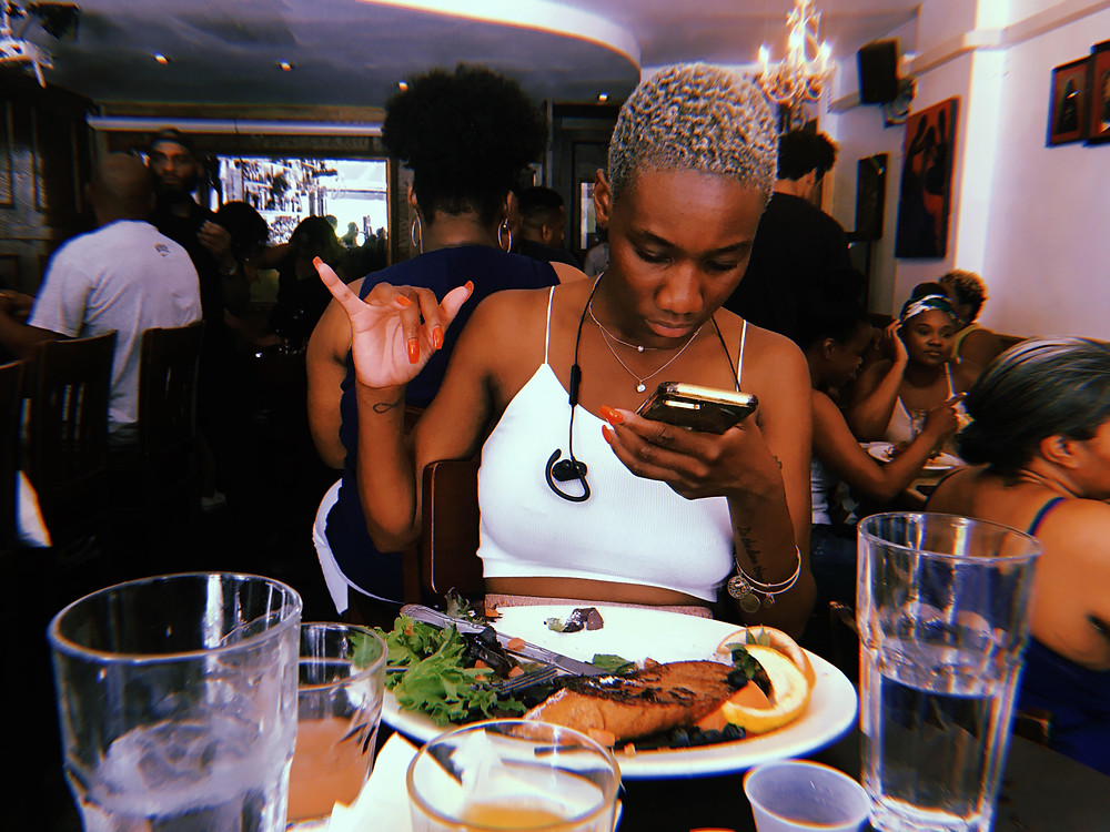 Bianca Y. Lominy Brunching and Emailing