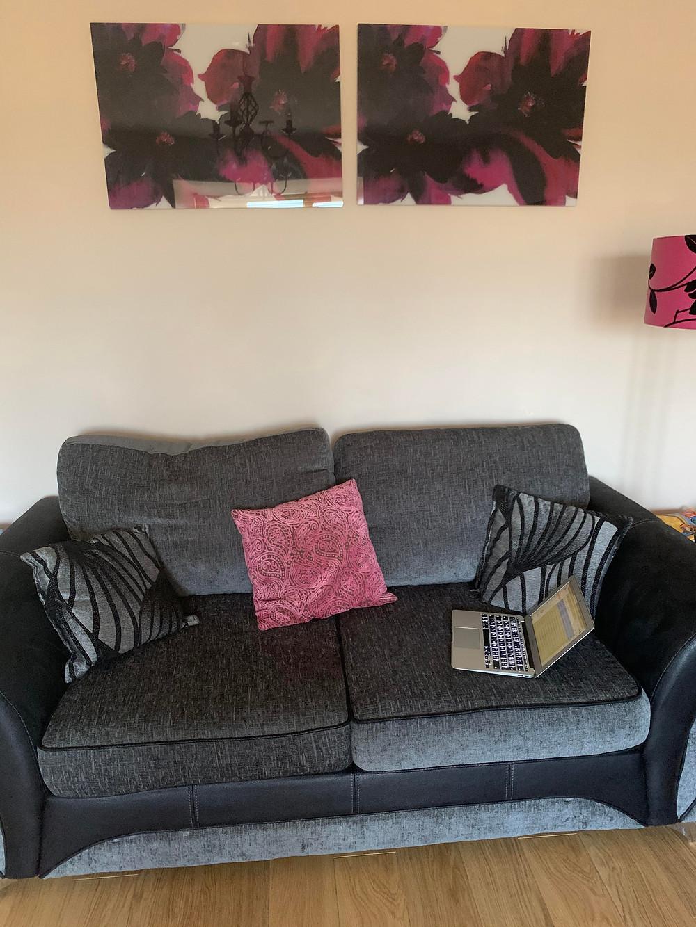 Keisha's workspace, her sofa
