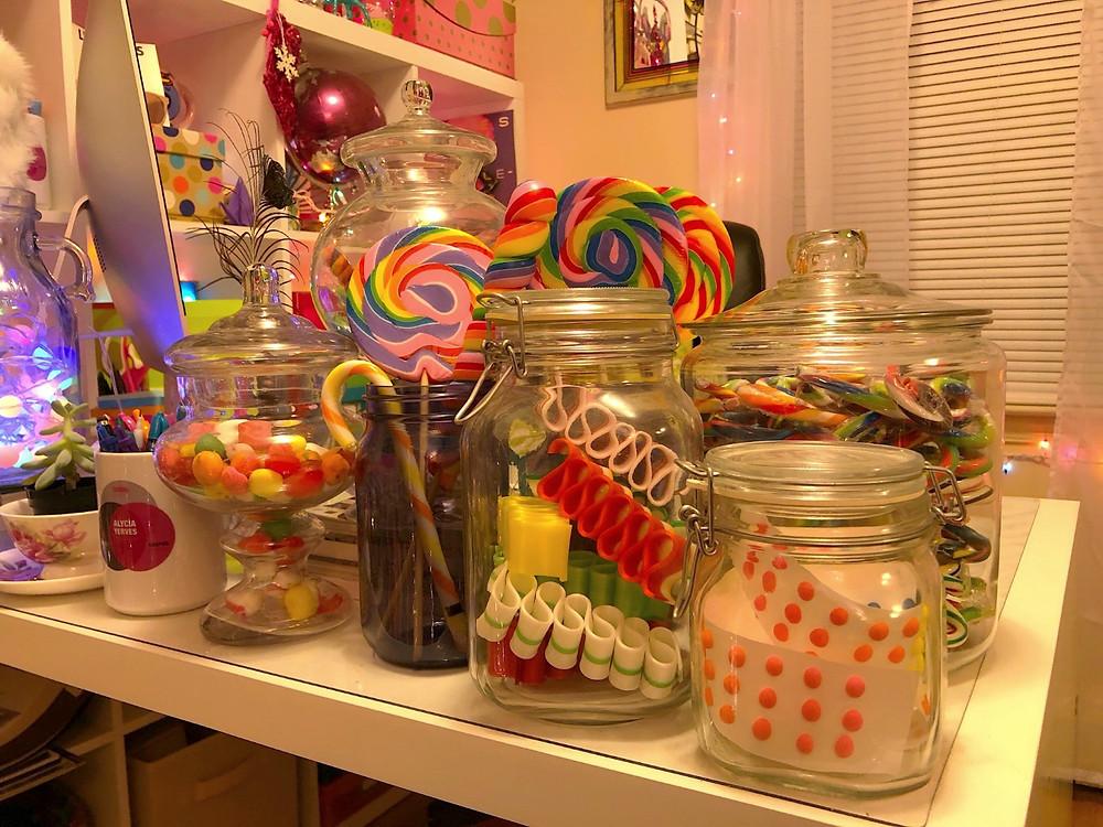 Alycia Yerves home office Christmas decor 2017 candyland jars on desk
