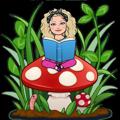 Alycia Yerves bitmoji sitting on a mushroom with a book