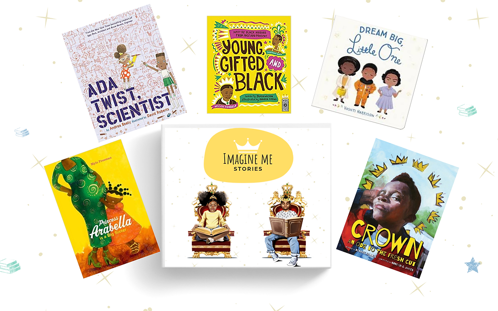A selection of books featured in subscription boxes for Imagine Me Stories