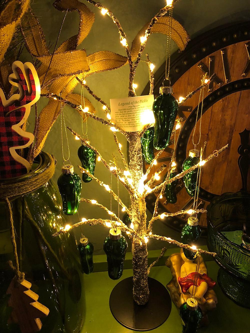 Alycia Yerves home Christmas decor 2017 Christmas tree of pickles