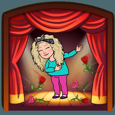Alycia Yerves bitmoji bowing on stage with roses