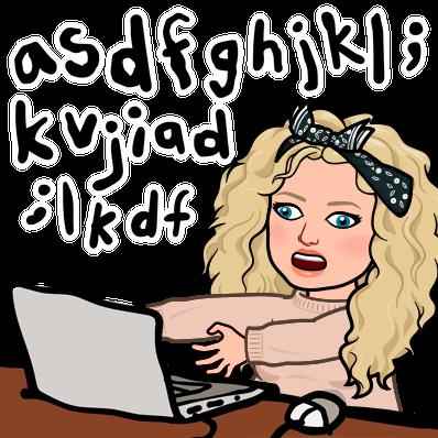 Alycia yerves bitmoji confused typing into computer