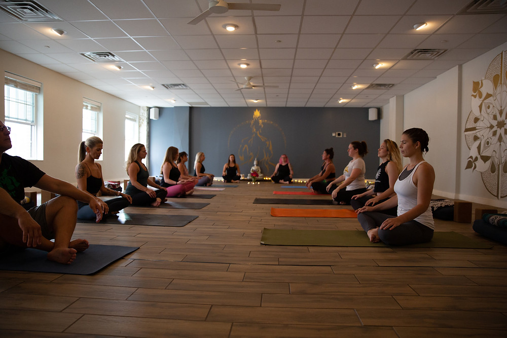 Katie during a group yoga session