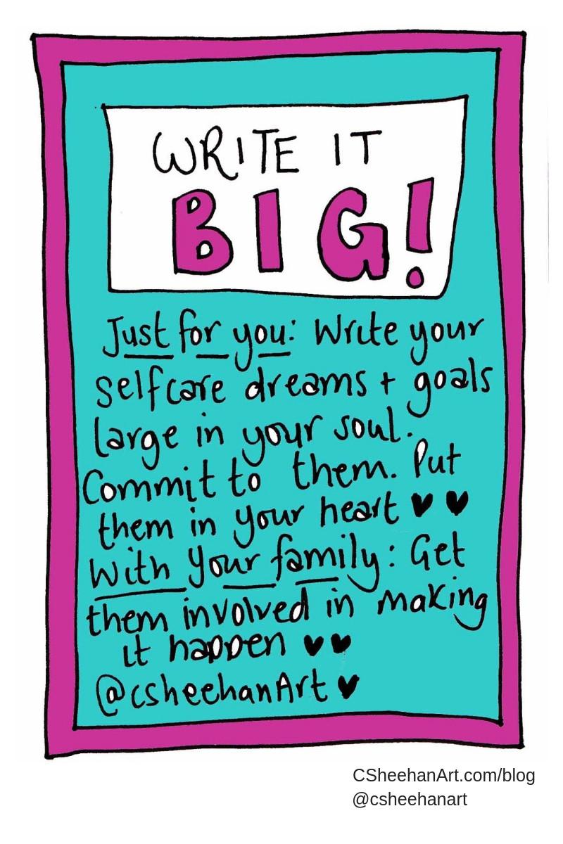 write it big csheehanart selfcare invite