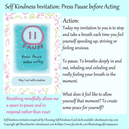 Press Pause Before Action - Day 2 self kindness invitation