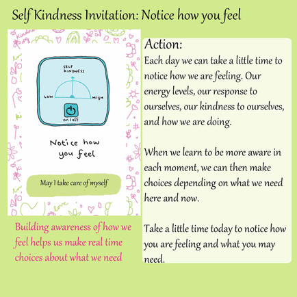 Notice how you feel - self kindness invite