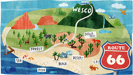 【work】(株)wesco HPの top pageイラスト