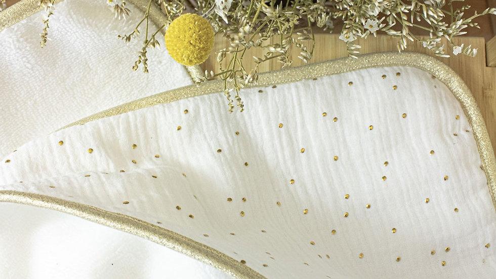 Cape de bain August blanc pois doré