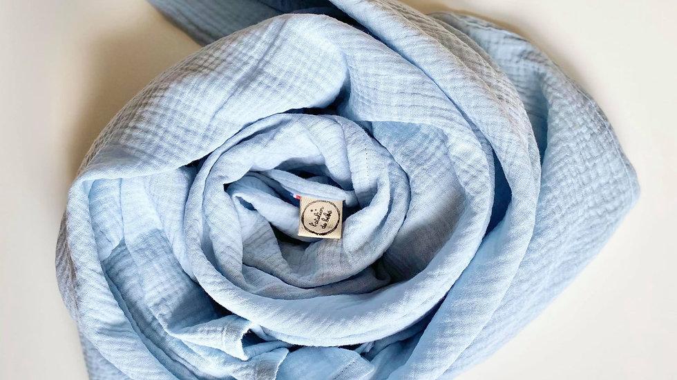 Maxi lange en gaze de coton Bleu tendre