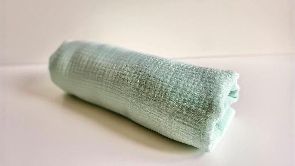 Drap housse en gaze de coton vert menthe