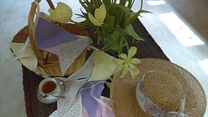 Afternoon Tea bunting is a very pretty mix of delicate pastel and floral flags.