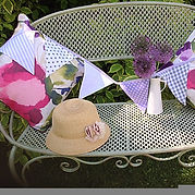 Lavender Grey is an exquisite combination of pale lilac and white bunting flags.